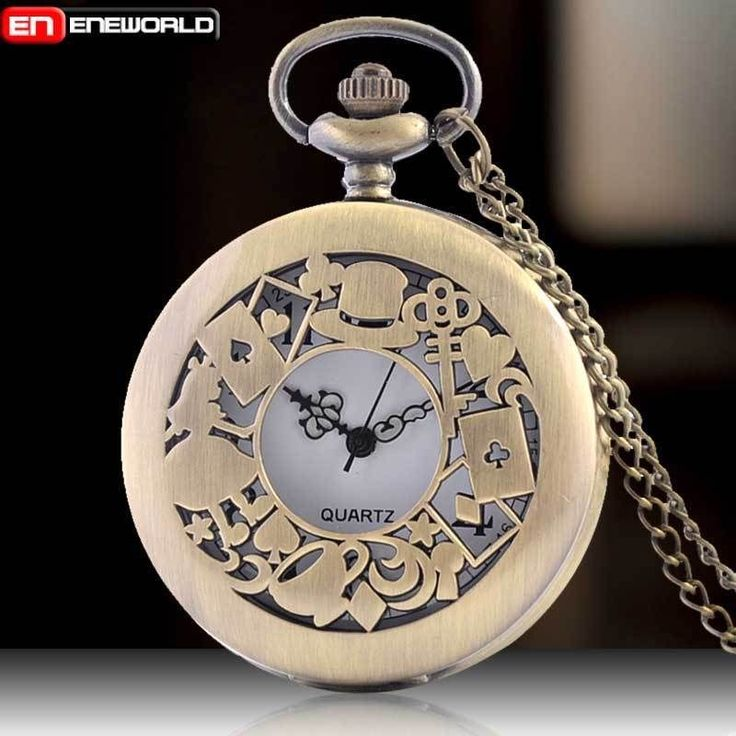New Full Hunter Pocker Cards Alice In Wonderland Quartz Pocket Watch Necklace UK in Jewellery & Watches, Watches, Pocket Watches | eBay