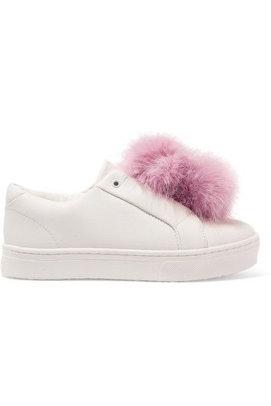 Sam Edelman - Leya Faux Fur-trimmed Leather Slip-on Sneakers - White