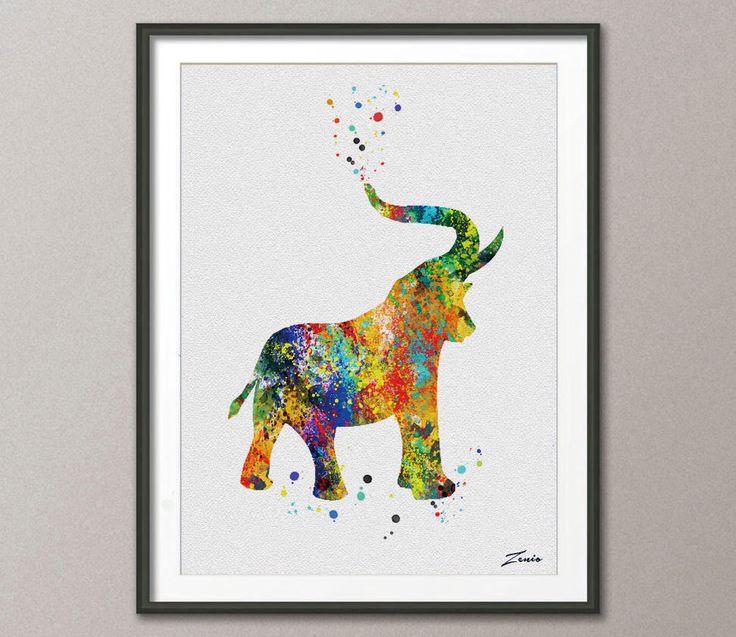 Elephant Print Elephant poster watercolor animal art illustration Elephant poster wall decor wall hanging art decor poster gift A059 by ZenioArt on Etsy https://www.etsy.com/listing/218736661/elephant-print-elephant-poster
