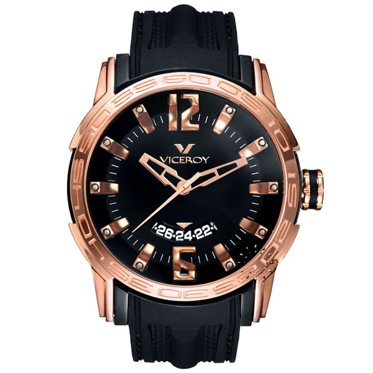VICEROY Rose Gold Date Black Rubber Strap  167€  http://www.oroloi.gr/product_info.php?products_id=27448