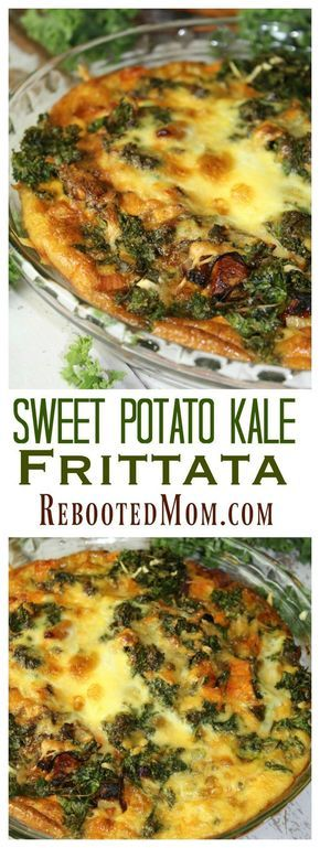 This Sweet Potato Kale Frittata combines caramelized onions, sweet potatoes, and kale to make a healthy {meatless} meal!