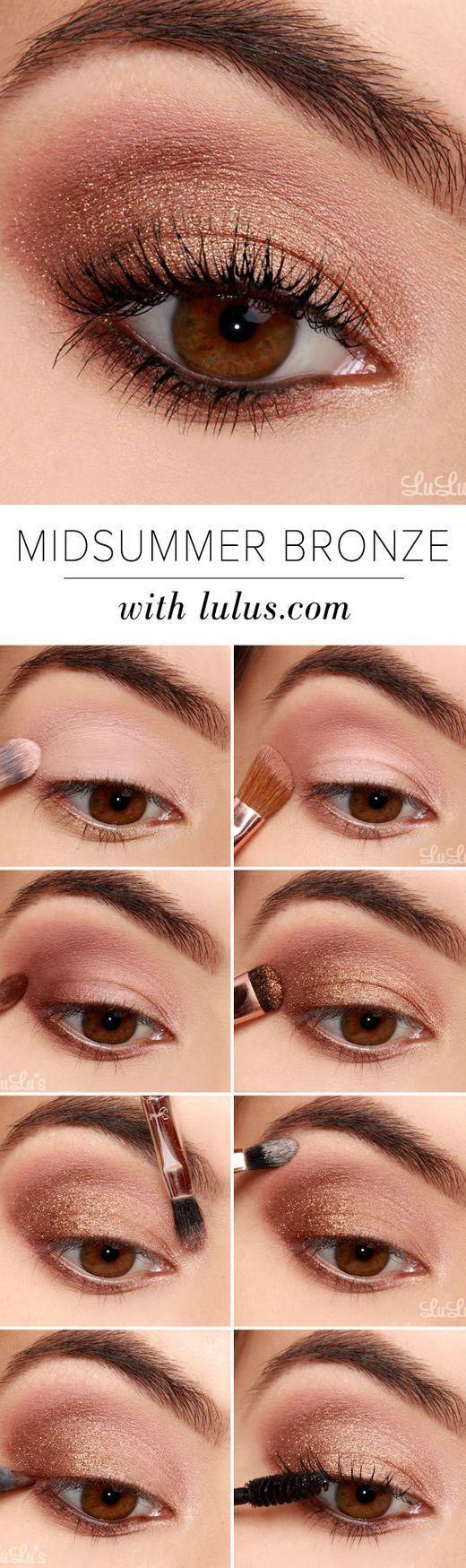 16 Easy Step-by-Step Eyeshadow Tutorials for Beginners: #7. Glittery Bronze Look – Step by Step Eyeshadow Tutorial for Brown eyes