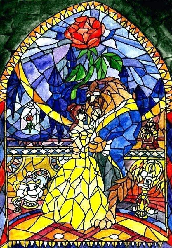 New Beauty And The Beast Stained Glass Portrait Diamond Painting