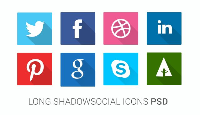 Long shadow icons PSD