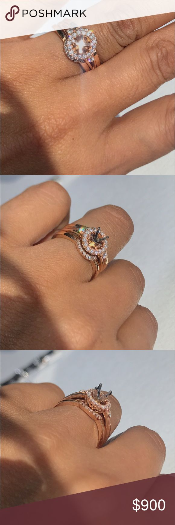 14K RoseGold Diamond Halo Engagement Ring Mounting 14K Rose Gold Diamond Halo Engagement Ring: Materials // 14k Rose Gold // Authentic Natural Diamonds // the side diamonds make up 0.64 tcw and are round brilliant cut // the center is made to fit a  half a Ct. (0.50 Ct ) diamond // princess or round diamond // Jewelry Rings