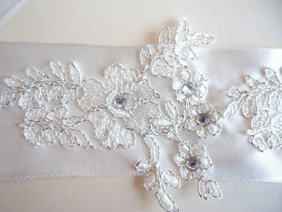 "Lace embellished bridal belt...2.3"" tall."