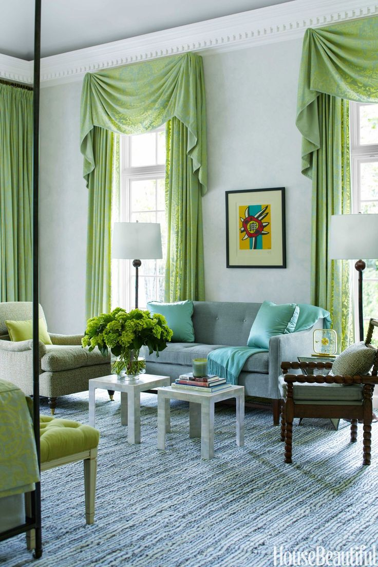60 Designer Window Threatments and Curtain Ideas. Sea Green. Decoration Trends 2017