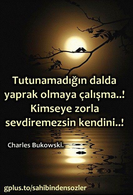 Tutunamadığın dalda yaprak olmaya çalışma..!  Kimseye zorla sevdiremezsin kendini..!  - Charles Bukowski