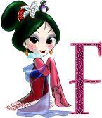 Alfabeto con linda japonesa.