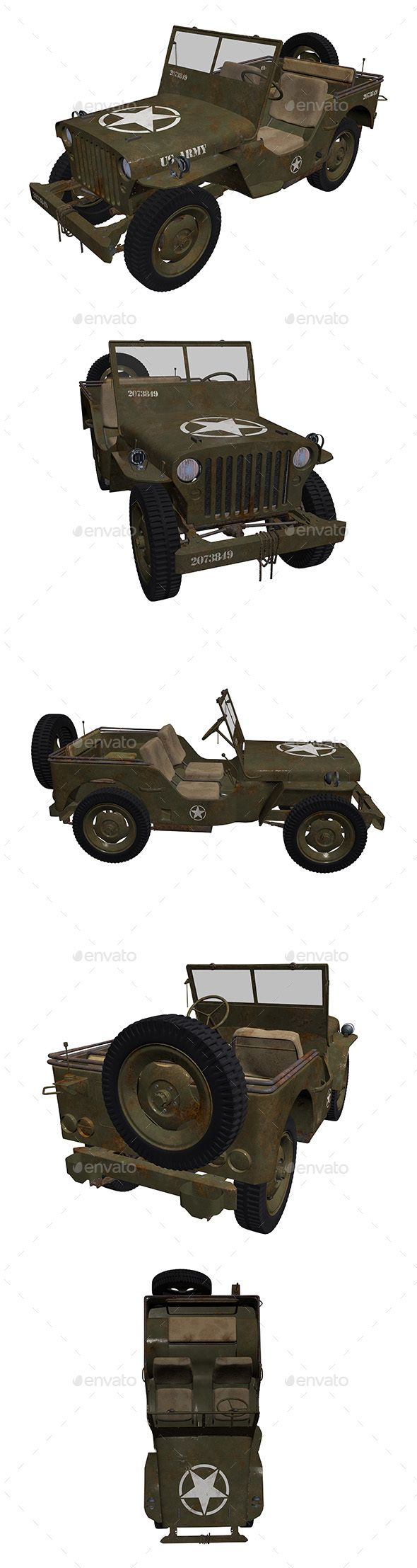 3D Military Jeep - 5 Renders - Technology #3D #Renders Download here: https://graphicriver.net/item/3d-military-jeep-5-renders/20390266?ref=alena994