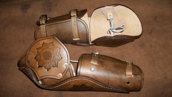 Brown Embossed Bazubans - leather armor - sca armor - larp - armour