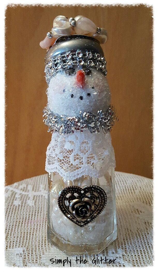 Snowman Assemblage Vintage Salt Shaker Snowman Lucille