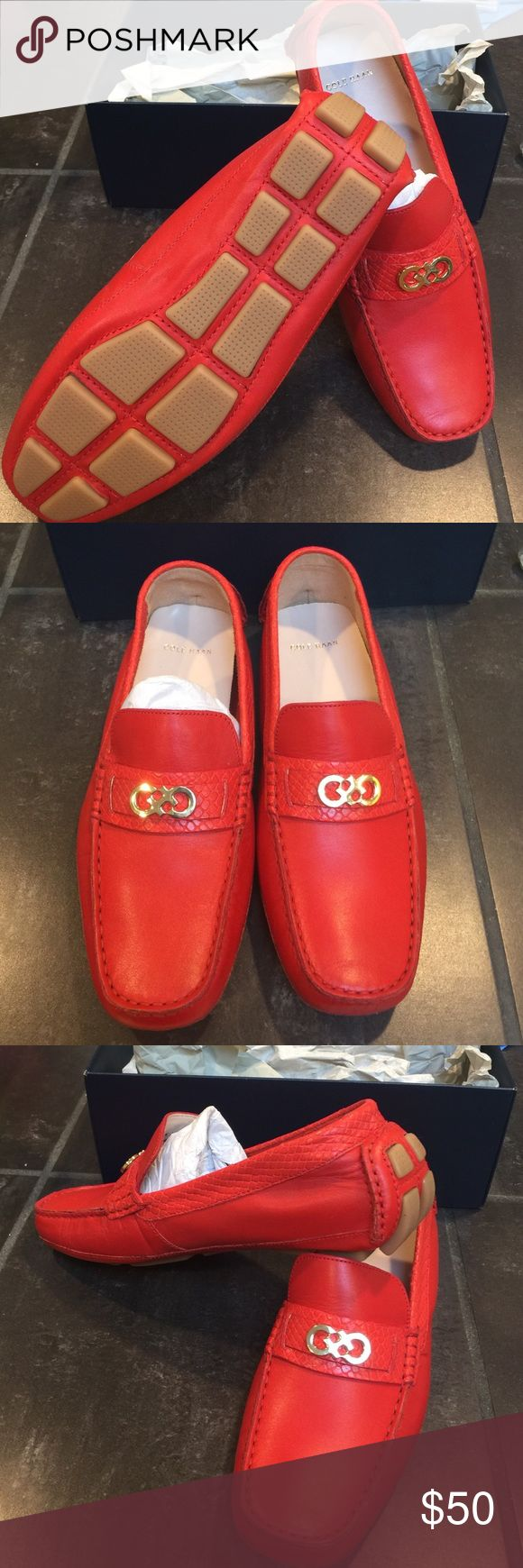 Cole Haan driver Shelby fiery red shoes loafers Fiery red Cole Haan Shelby drivers loafers with logo. Cole Haan Shoes Flats & Loafers
