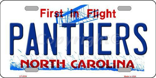Panthers North Carolina Novelty State Background Metal License Plate