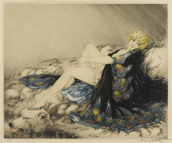 Louis Icart (French, 1888-1950) Silk Robe (H., C. & I. 276), 1926 Etching and aquatint with touches of handcoloring on wove paper, signed in pencil and numbered 95, with the blindstamp of the artist, published by Les Graveurs Modernes, Paris, with margins, framed. 15 3/4 x 19in Estimate: US$ 1,000 - 1,500 http://www.zaidan.ca/Art_Gallery/Auctions/130512_Bonhams.htm