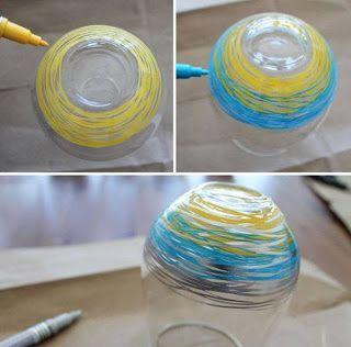 Cómo decorar vasos de vidrio con plumones de aceite   Solountip.com