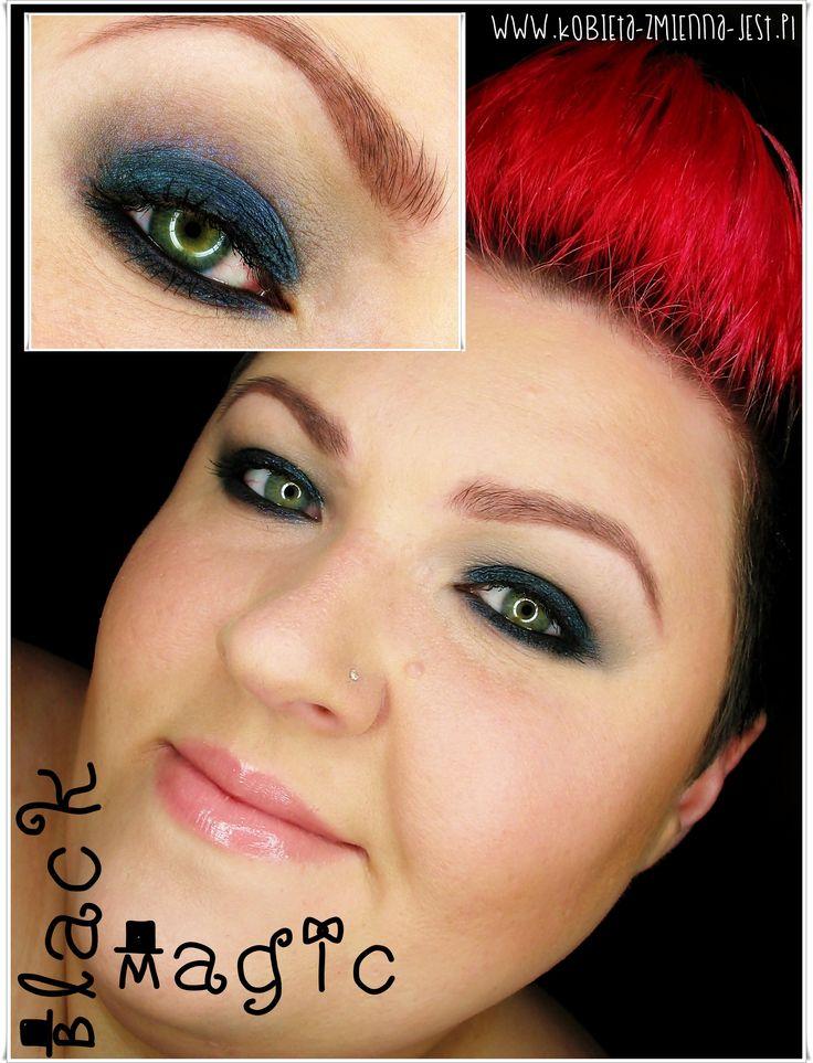 makijaż makeup sleek arabian nights black magic smokey eyes black navy granatowe wieczorowe blog makeupblog inspracja face