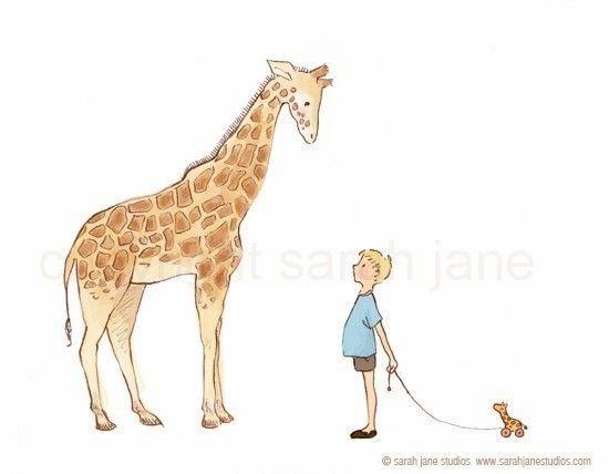 Children's Wall Art Print  Giraffe  8x10  Boy by sarahjanestudios, $26.00