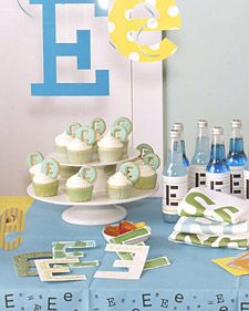Baby's First Birthday: Initial party - 'E' theme  http://thesweetspotblog.com/baby-es-first-birthday-theme/