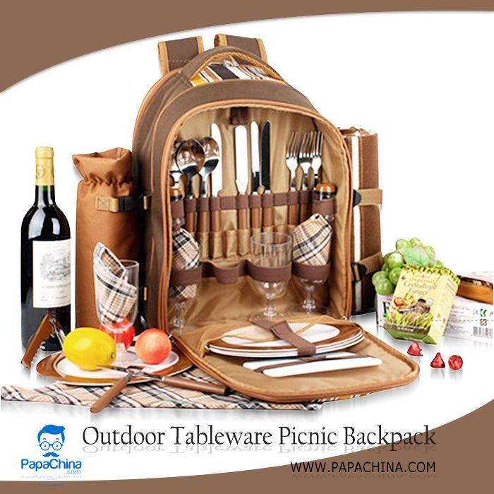 The Outdoor Tableware Picnic Backpack which is an excellent example of simplicity with its fascinating features that includes picnic rug, 4 plates, 4 cups, 4 napkins, 4 forks, 4 spoons, knives, salt pepper shakers set, multi-fuction bottle opener, plastic cutting board