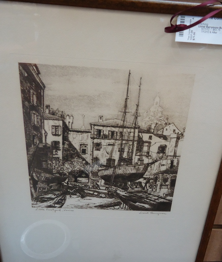 Lionel Barrymore Etching.  Boatyard, Venice.  Check them out at The Corner Shoppe, 27 Calendar Ave, LaGrange, IL 708-579-2425