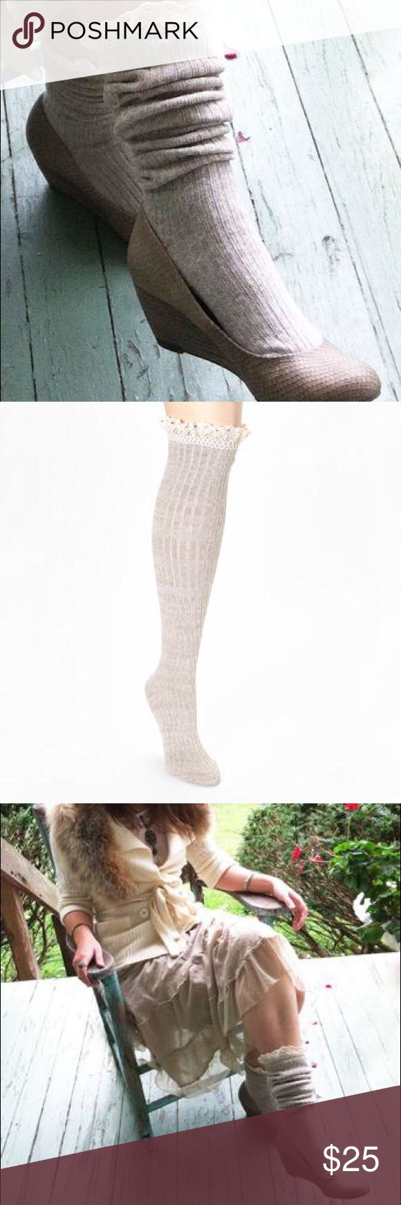 🆕JUST IN!Heather Oatmeal LaceTrimKnee-High Socks Knit from soft, stretchy cotton with dainty lace trim. The Annabell lace-trim classic oatmeal knee socks.  Perfect for wearing with boots for a finishing touch, over jeans or peeking out under a dress.  Warm and cozy high quality cotton socks. 80% cotton / 15% nylon / 5% spandex Machine wash; tumble dry Peony and Moss Accessories Hosiery & Socks