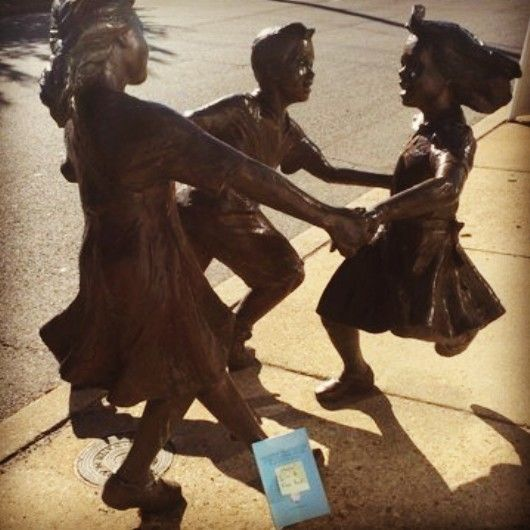 Playing ring around the rosy with some statue children. Each Allister book is registered at BookCrossing.com, a site dedicated to the idea of sending books on journeys. We're posting each dropped book's whereabouts on Twitter @AllisterCromley and on Instagram at allistercromley (go ahead and give them a follow, if'n you like).