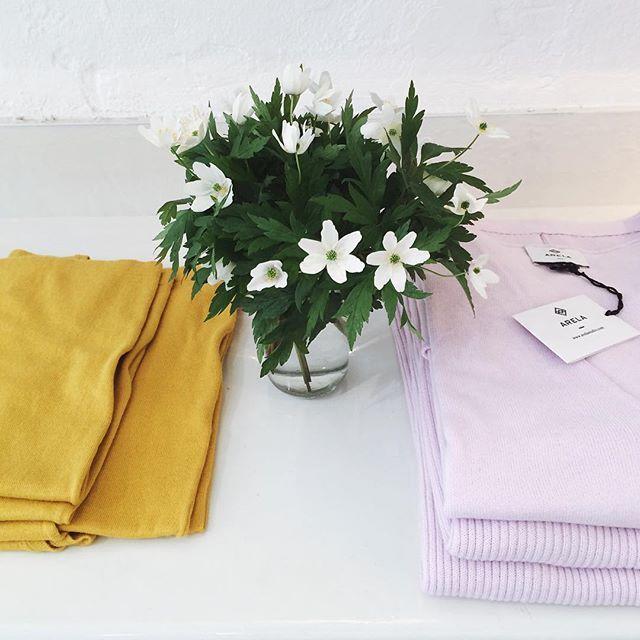 Spring blossoms | Paz dress in Barcelona yellow and Vanja sweater in Paris blush, both in cotton-cashmere knit. Special quest star: anemone nemorosa ☘  #arelastudio #alonetogether #arelastore #springhassprung #springknits #anemone #valkovuokko #knitdress #ribbedsweater  www.arelastudio.com