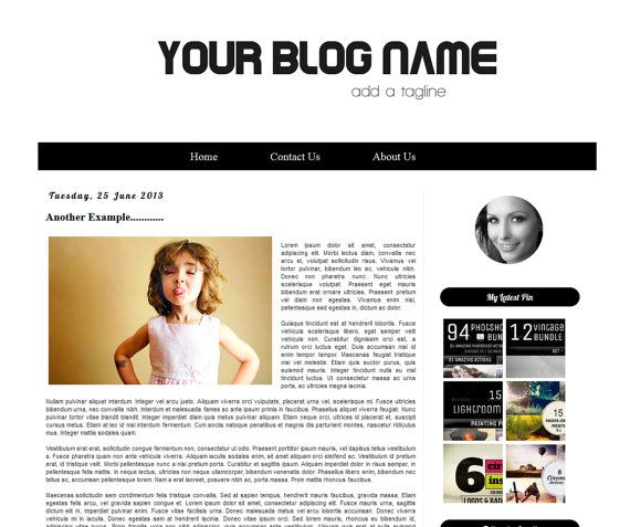 The Black and White V2  Premade Blogger Template   by Symufathemes, $25.00