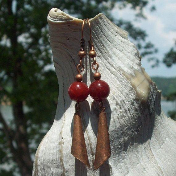 Fire Starter Earrings  Fire Agate stone  antique by MySoulCanDance on etsy