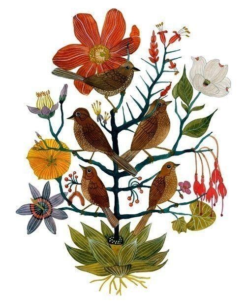 five sparrow print