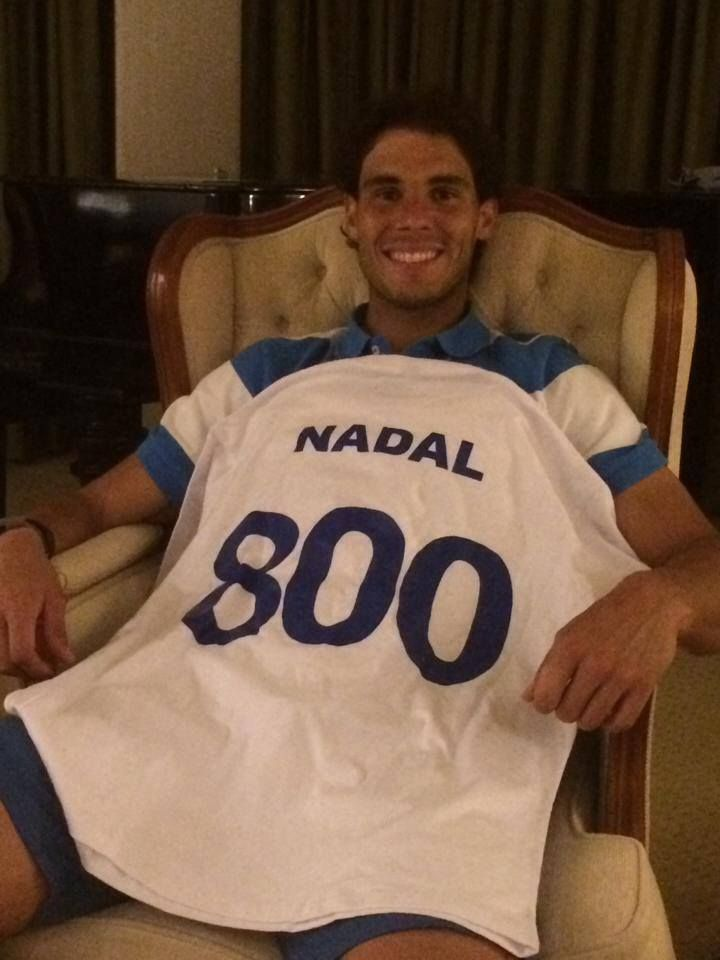 Via Rafa Nadal 2/19/14  ... The Rio tournament gave me this t-shirt: 800 pro matches played already… Getting old? but I am only 27!!!