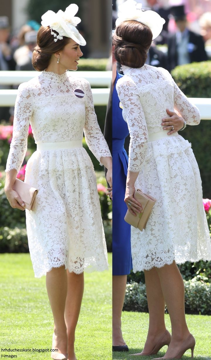 Duchess Kate: The Duchess in White Lace McQueen & Queen's Earrings for Royal Ascot!
