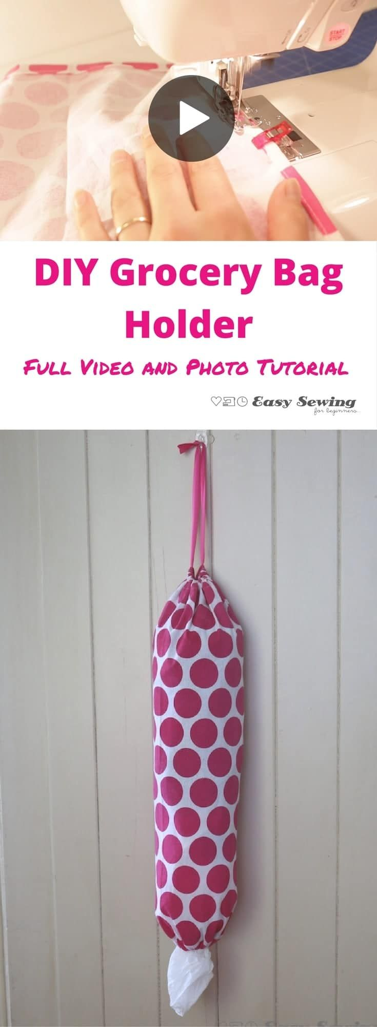 DIY Grocery bag holder video and photo tutorial