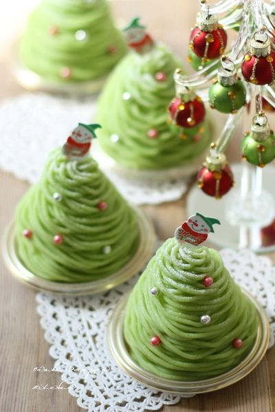 Japanese Sweet Potato Christmas Tree Mont Blanc Cakes ✨■クリスマスツリー風 サツマイモのモンブラン by れっさーぱんださん ...