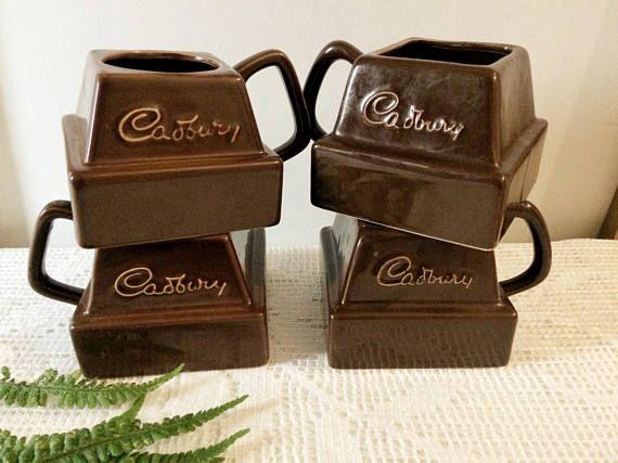 Vintage Cadburys chocolate chunk hot chocolate cocoa mugs set of four / vintage mug set Cadburys chocolate / chocolate lover gift brown mugs