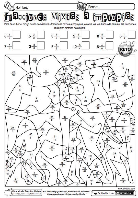 Jesús González Molinade la Escuela Primaria Vicente Guerrero, desde Los Placeres del Oro, Guerrero, México, comparte una ficha para pasar de fracciones mixtas a impropias. También dispones de otra...