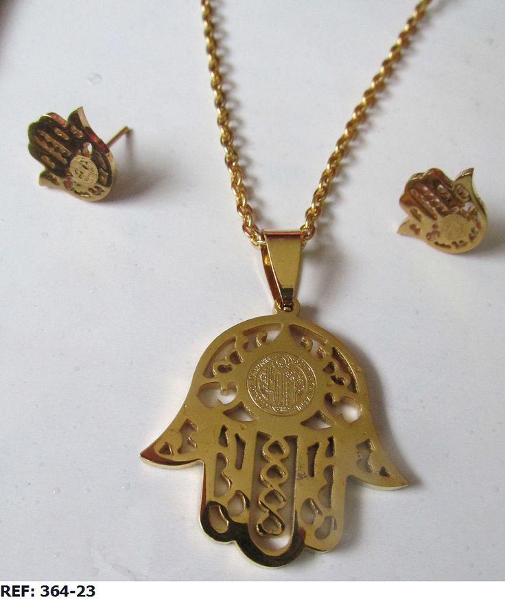juego de collar y aretes en acero venta al por mayor y al detal  whatsapp 3147059894