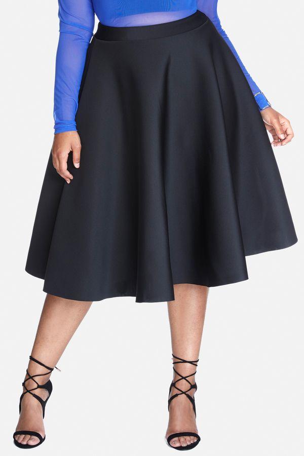 Plus Size Scuba Flare Midi Skirt