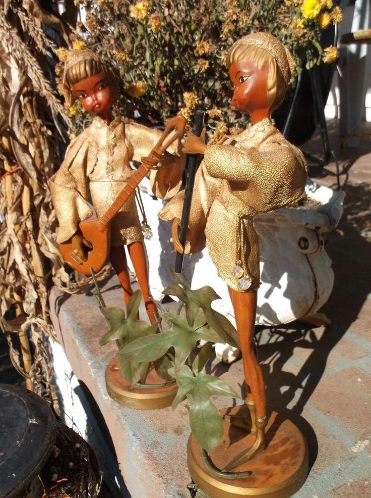 Pair of Vintage GOLDEN PIXIE Elf Figures w MUSICAL INSTRUMENTS HONG KONG -TALL