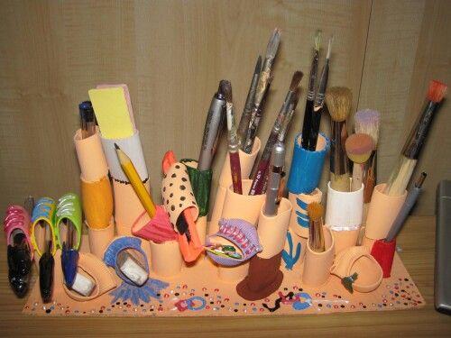 portapenne, pennelli....con vari tipi di pasta!