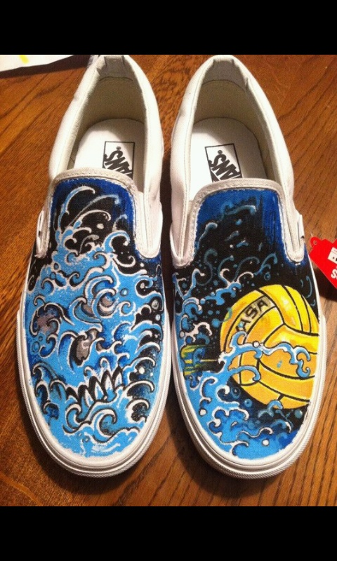 Hand painted Water Polo Vans By Moses Garcia @ Contra Tattoo