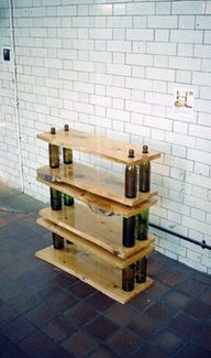 DIY wine bottle shelving want to make this for the kitchen (: