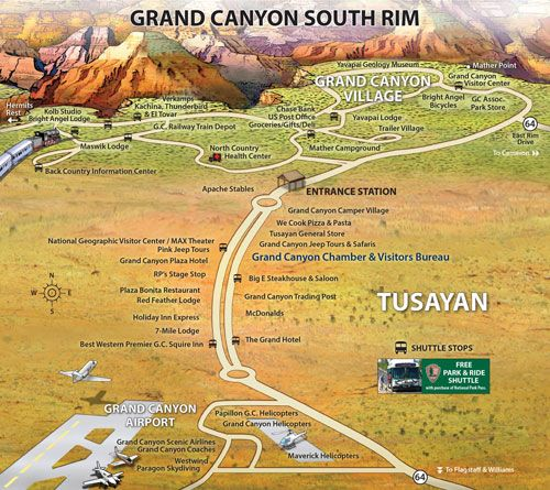 Grand Canyon South Rim Are Maps