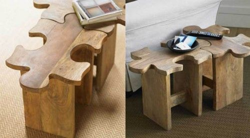 Jigsaw Puzzle Stool / Table / Cool Material (table,jigsaw,wood)