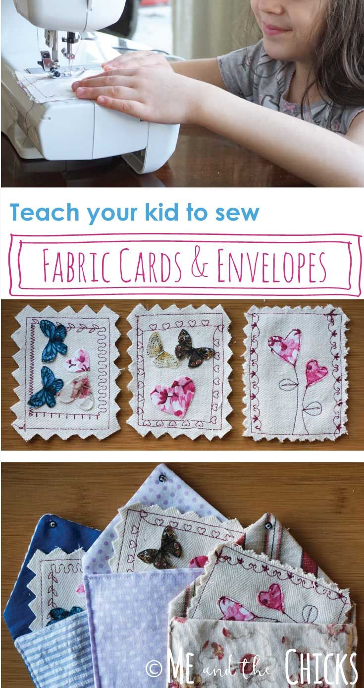 Teach your kid to sew fabric cards and envelopes. If your kid is a beginner sewe…