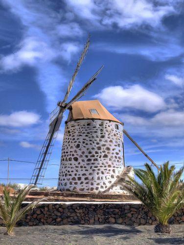 Molino en Lajares, Fuerteventura, Islas Canarias. Spain. Tilting at windmills!