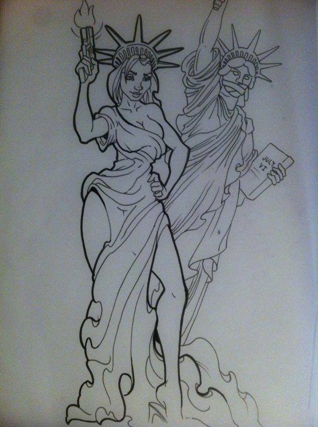 deviantART: new age lady liberty flash art tattoo ~A.R.