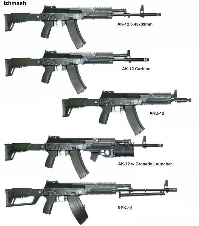 AK-12 variants, produced originally to replace the AK-74, but never adopted by the Russian military. Chambered primarily in 5.45x39, but available in other calibers