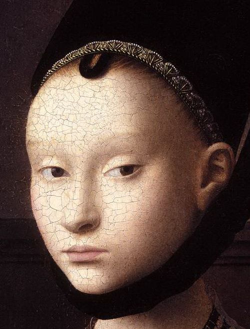During the Middle ages, and even in the Renaissance and until the 18th century, eyelashes were not styled. Women, in general, removed eyelashes and eyebrows in order to give more importance to the forehead, which was the most important feature in females' faces at that time.  Women were not supposed to exhibit their hair in public...(more at link.)  image: Petrus Christus, Portrait of a Young Woman (detail), Netherlandish, c. 1470